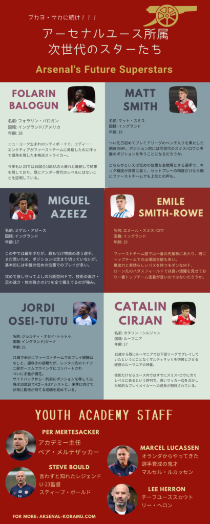 arsenal youth team infographic